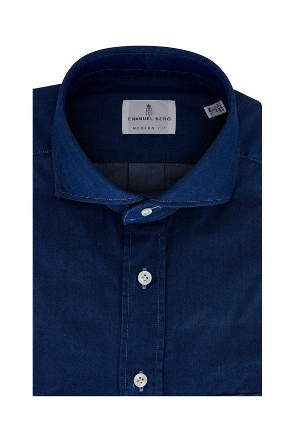 Emanuel Berg Blue Denim Modern Fit Sport Shirt