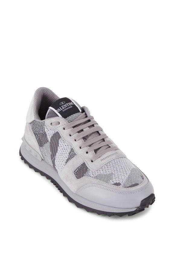 Valentino Garavani White & Dark Gray Camo Knit Sneaker
