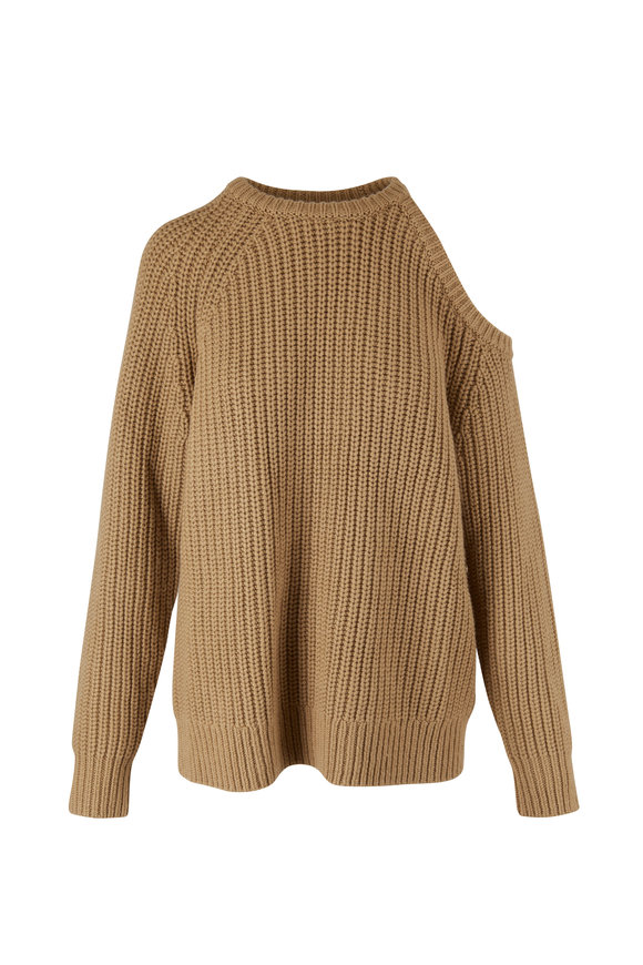 Michael Kors Collection Barley Knit Cut-Out Shoulder Sweater