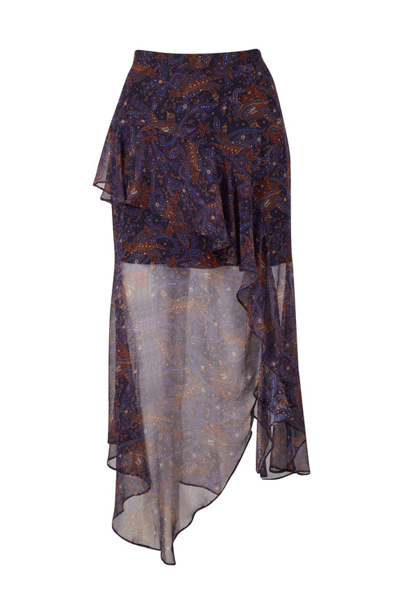 Veronica Beard Trixie Black Paisley Midi Skirt