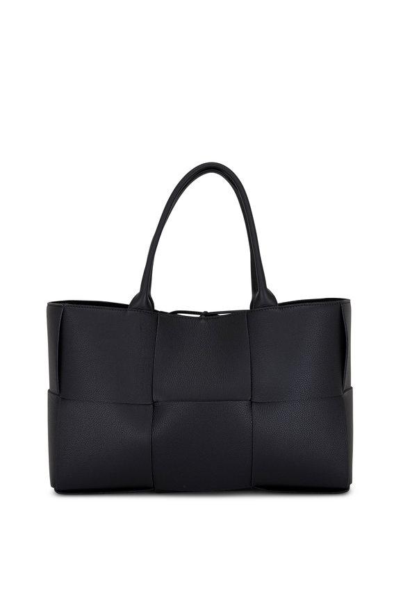 Bottega Veneta Acro Black Wide Woven Leather Large Tote