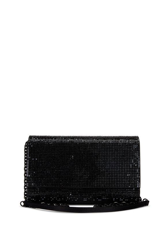 Judith Leiber Couture Black Crystal Bead Chain Clutch