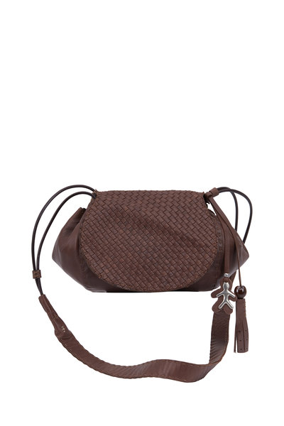 Henry Beguelin - Molly Dark Brown Woven Leather Crossbody