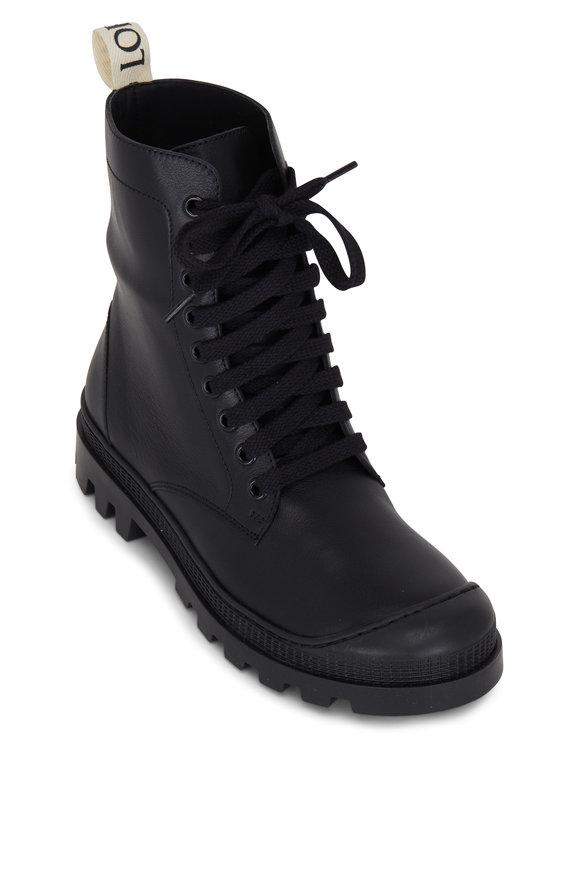 Loewe Black Leather Lug Sole Combat Boot