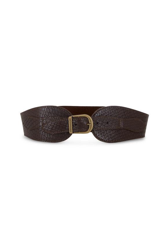 Kim White Equestrian Espresso Leather Waist Belt