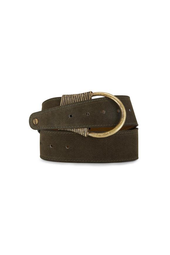 Kim White Loden Suede Antique Finish Buckle Belt