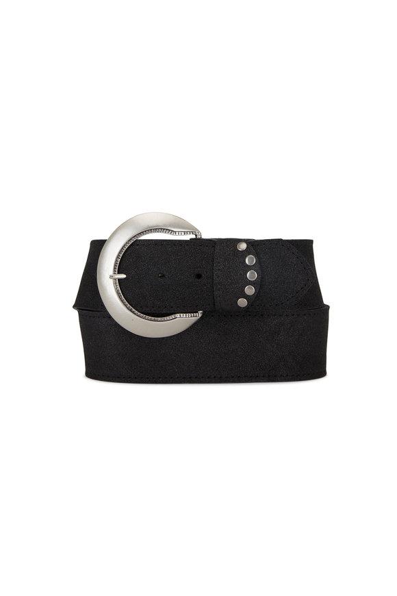 Kim White Black Shimmer Leather Belt