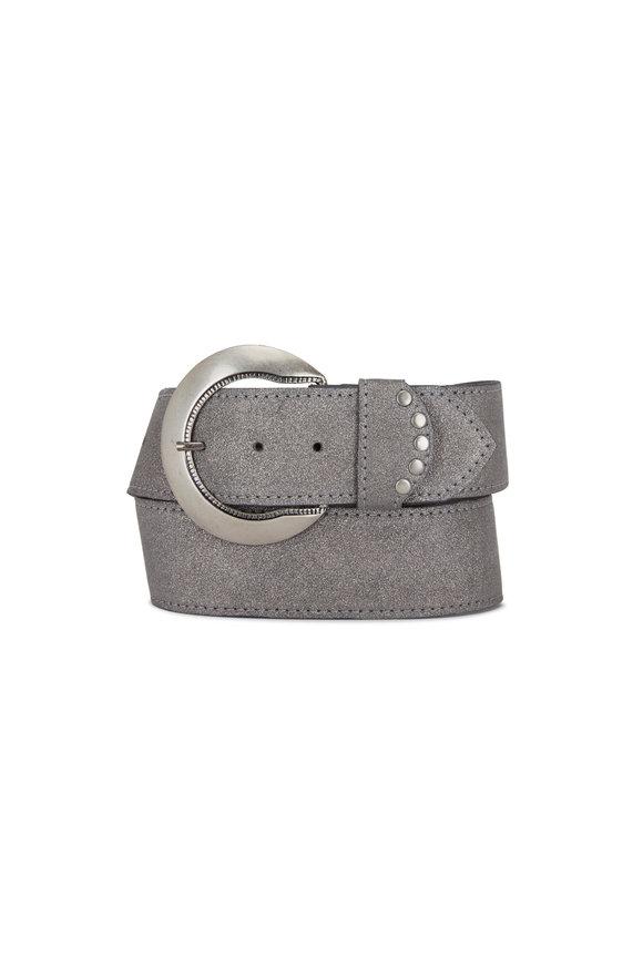 Kim White Silver Shimmer Leather Belt