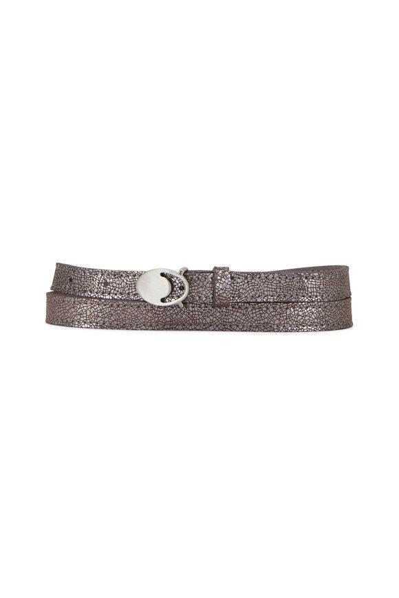 Kim White Tiny Moon Silver Leather Belt