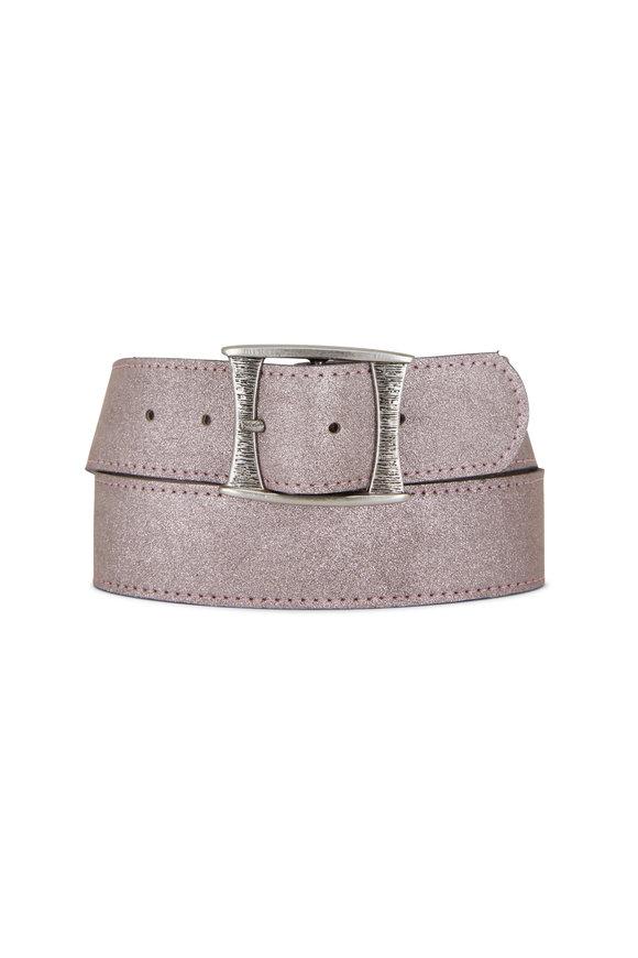 Kim White Metallic Pink Champagne Leather Square Buckle Belt