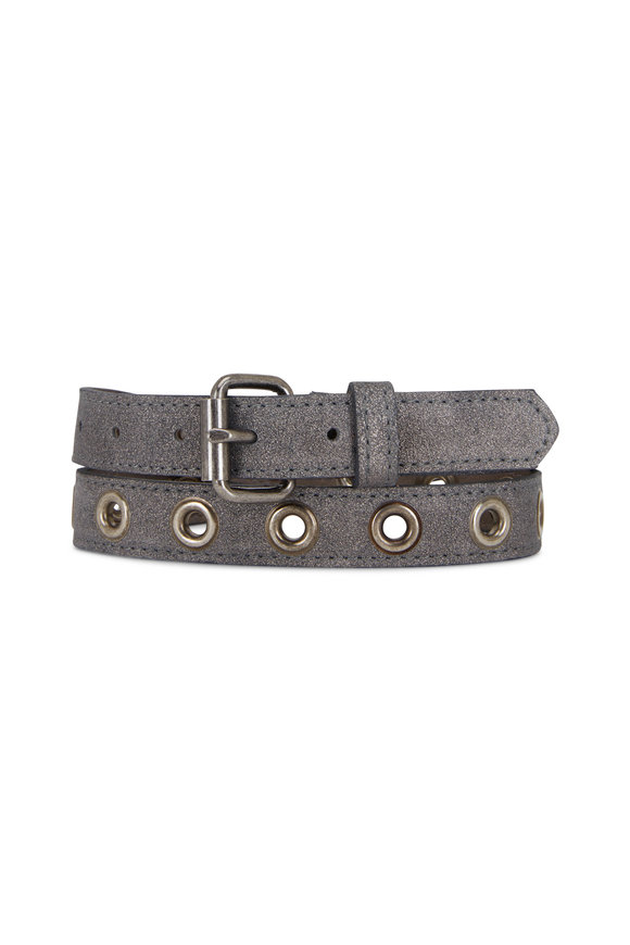 Kim White Silver Single Row Grommet Belt
