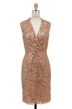 Jenny Packham - Beige Sequin Sleeveless Cocktail Dress