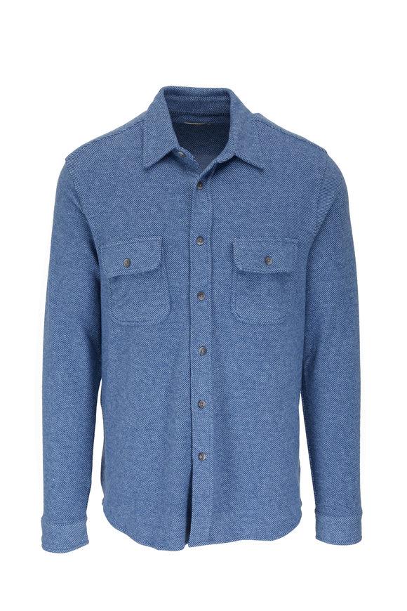 Faherty Brand Legend Blue Button Down Sweater Shirt