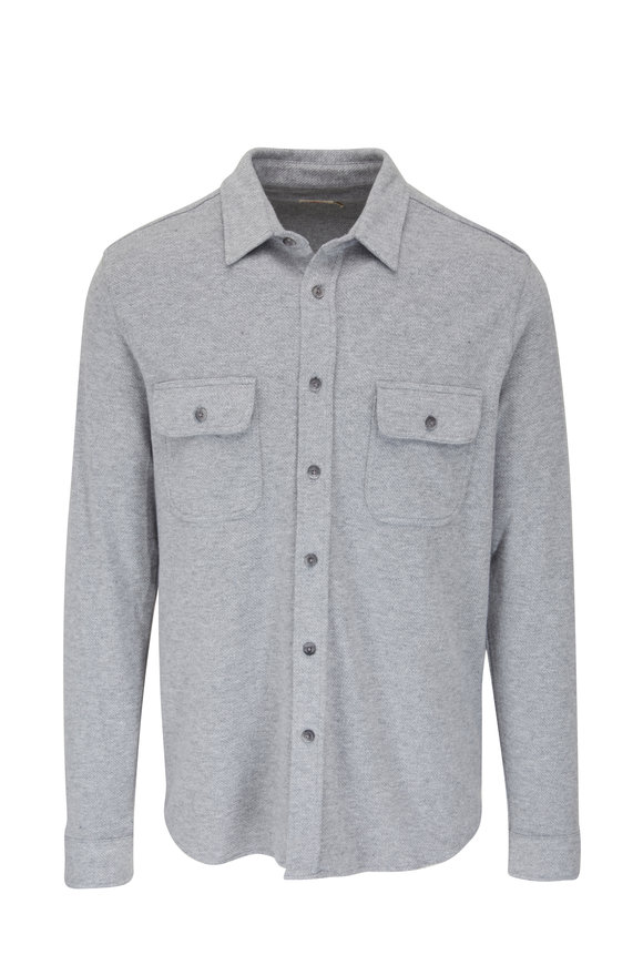 Faherty Brand Legend Fossil Gray Button Down Sweater Shirt