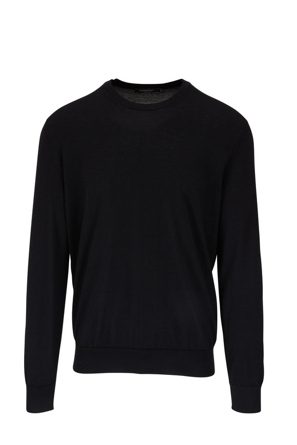 Ermenegildo Zegna Black Cashmere & Silk Crewneck Sweater