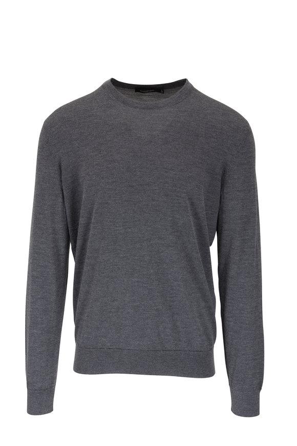 Ermenegildo Zegna Charcoal Gray Cashmere & Silk Crewneck Sweater