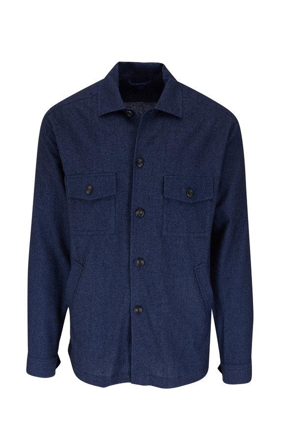 Eton Dark Blue Cotton, Wool & Cashmere Overshirt