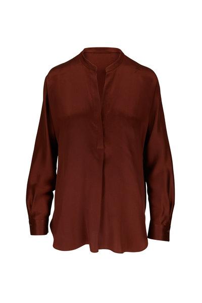 Vince - Dark Red Silk Band Collar Blouse