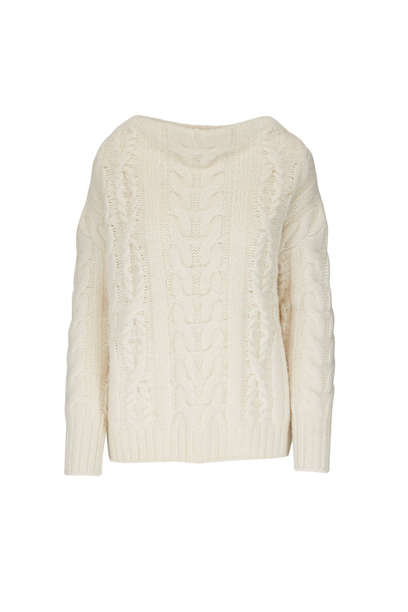 Vince Cream Cable-Knit Funnel Neck Sweater