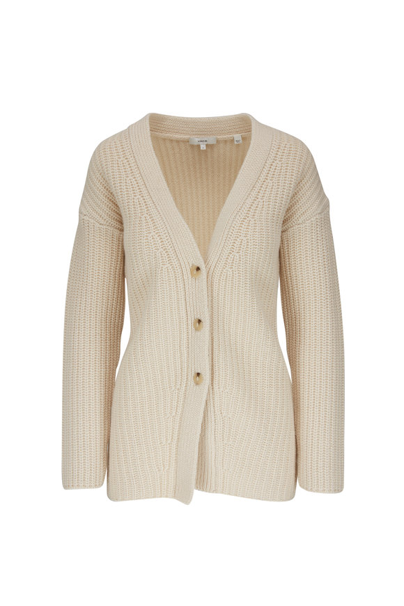 Vince Winter White Fitted Ribbed Cardigan