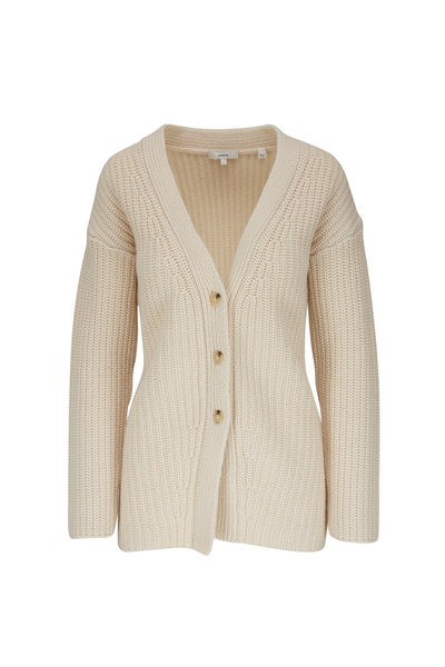 Vince - Winter White Fitted Ribbed Cardigan