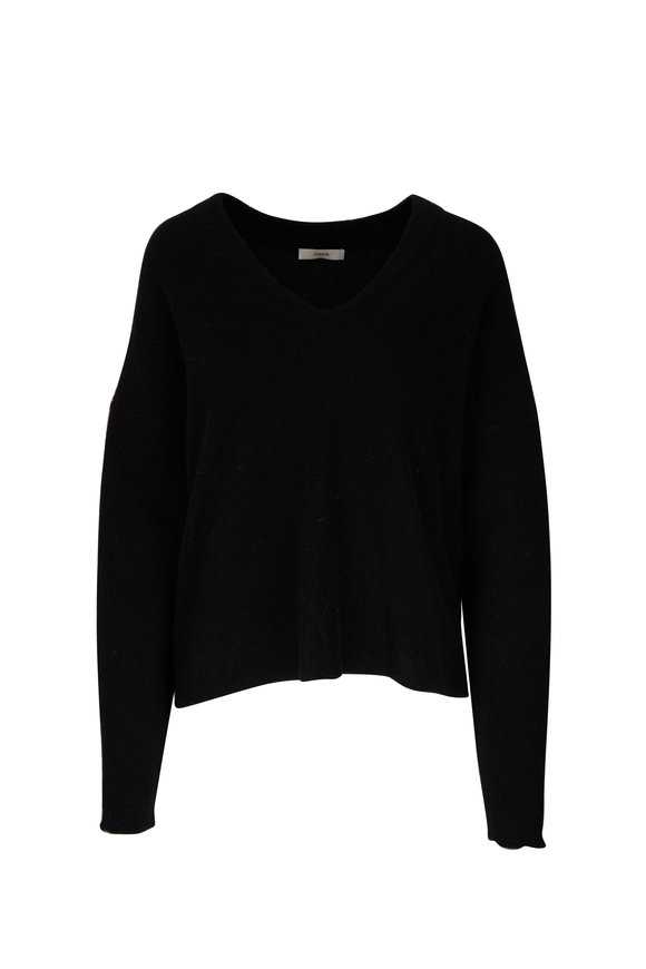 Vince Black Boiled Cashmere Relaxed Fit Sweater