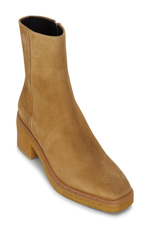Pierre Hardy Jim Folk Camel Suede Chunky Heel Boot, 75mm