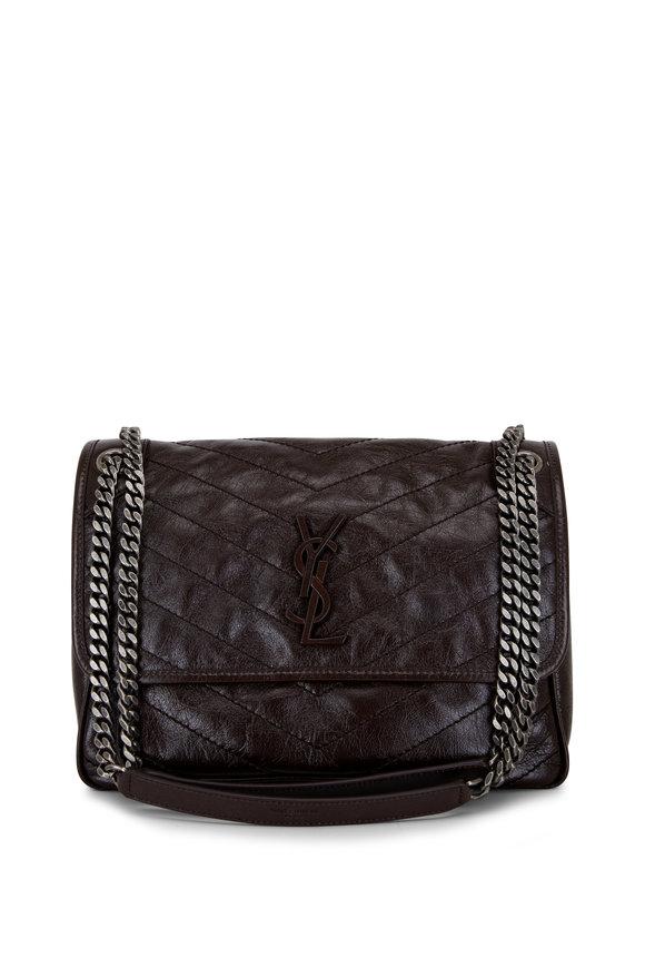 Saint Laurent Niki Chocolate Crinkle Leather Medium Shoulder Bag