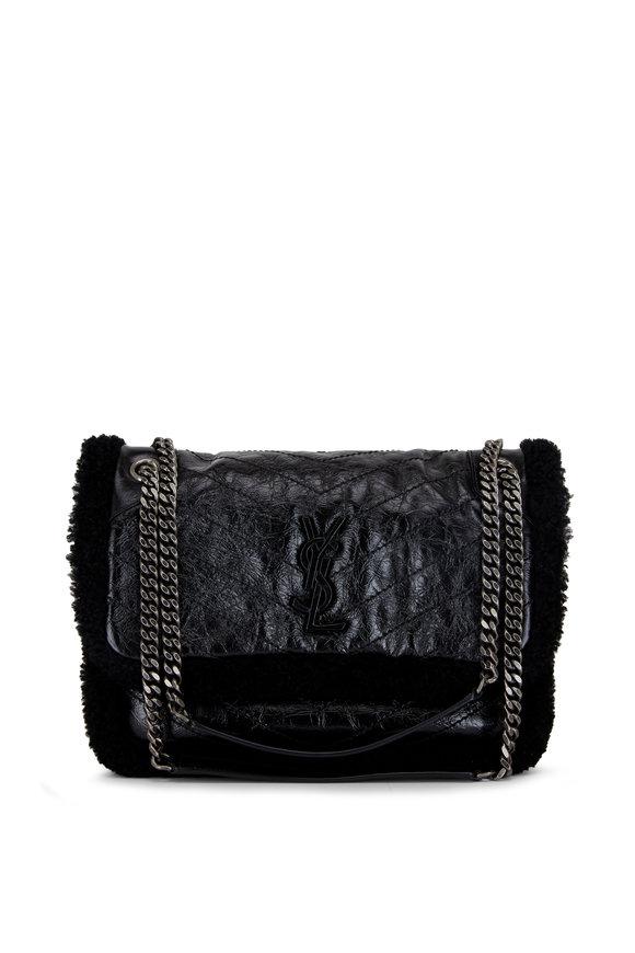 Saint Laurent Niki Black Shearling Lined Medium Shoulder Bag
