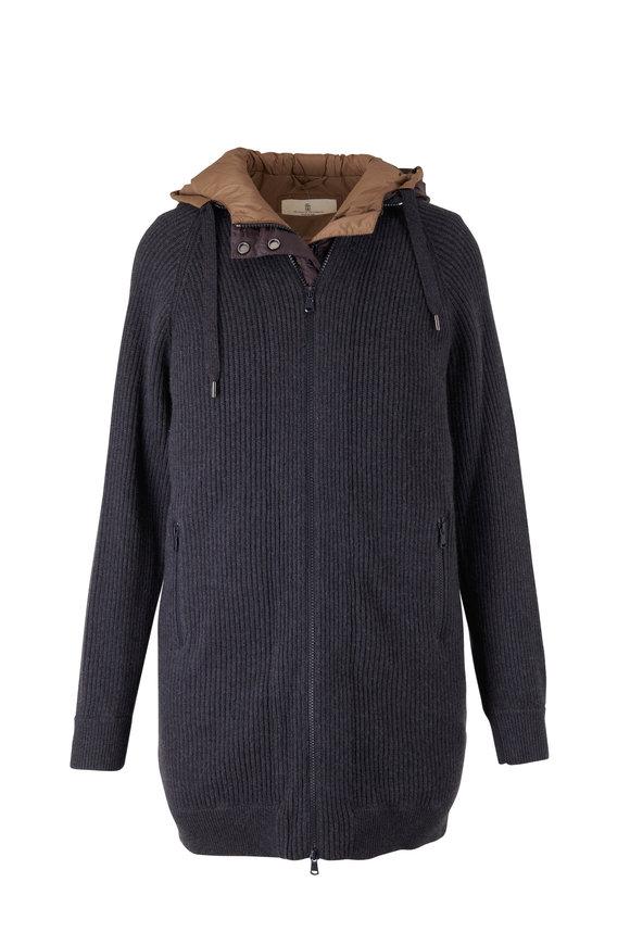Brunello Cucinelli Onyx English Rib Cashmere Coat With Down Vest