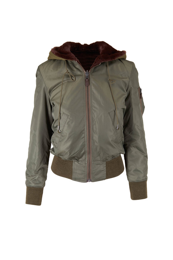 R13 Olive No Wash Reversible Hooded Bomber
