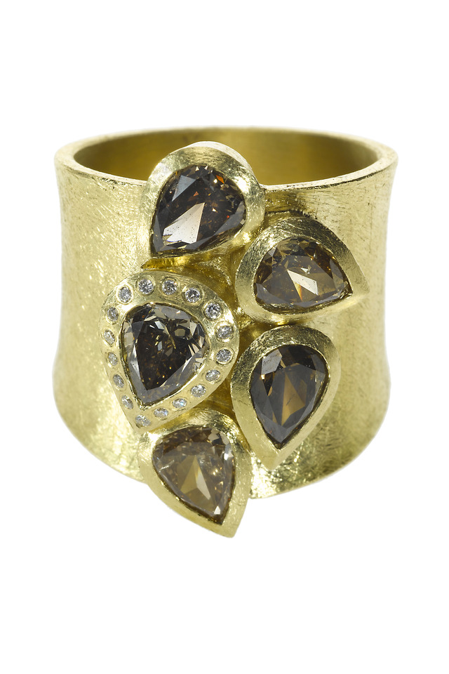 Wide Band Fancy Diamond Gold Ring
