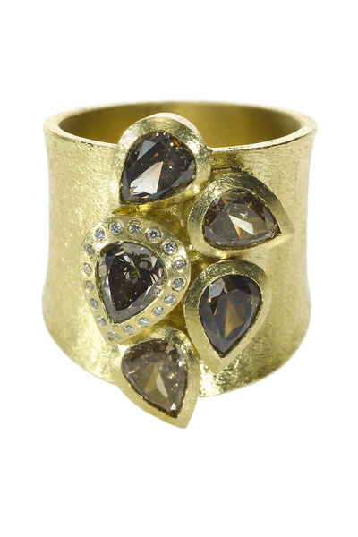 Todd Reed - Wide Band Fancy Diamond Gold Ring