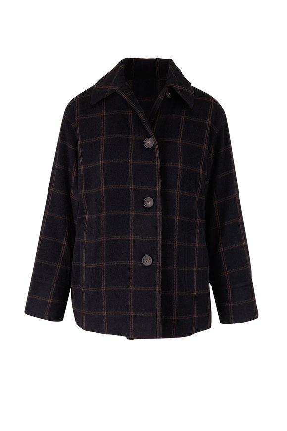 Vince Black Wool Flannel Plaid Coat
