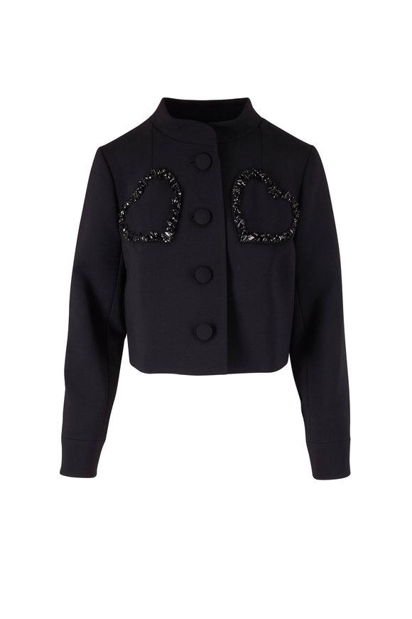 Carolina Herrera Black Stand Collar Embellished Heart Jacket