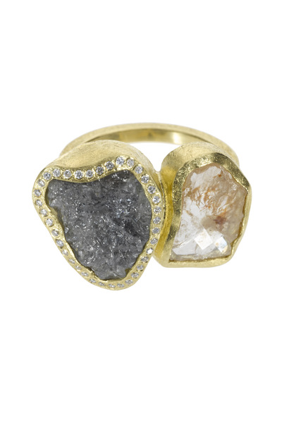 Todd Reed - Raw And White Diamond Gold Ring