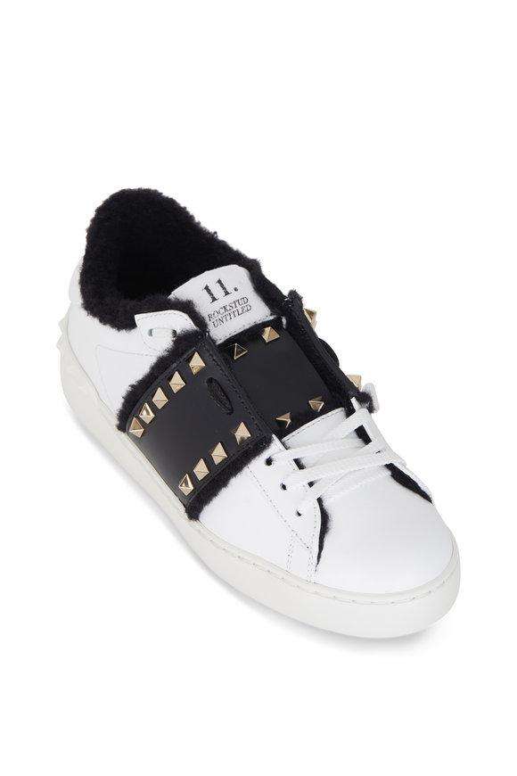 Valentino Garavani White & Black Leather & Shearling Lined Sneaker