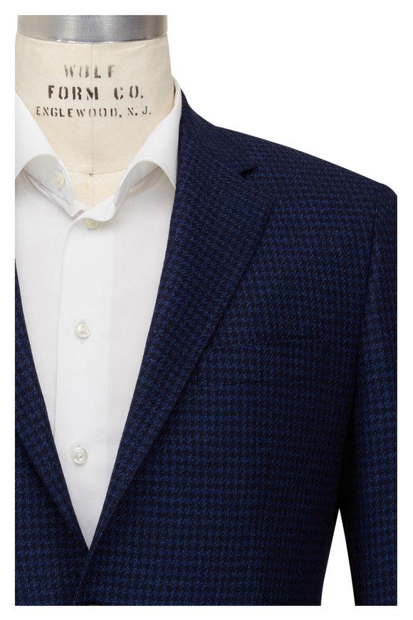 Atelier Munro Royal Blue Houndstooth Wool Sportcoat