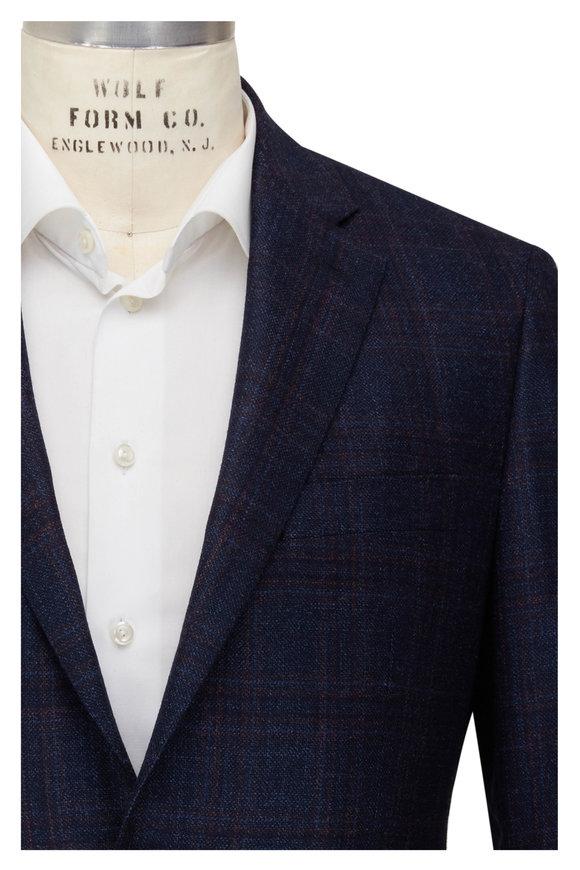 Atelier Munro Navy & Rust Windowpane Wool Blend Sportcoat