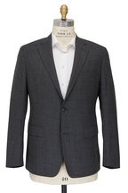 Atelier Munro - Charcoal Gray Solid Textured Wool Blend Sportcoat