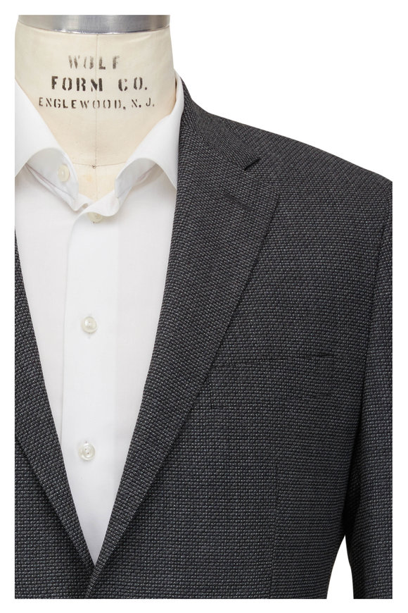 Atelier Munro Charcoal Gray Solid Textured Wool Blend Sportcoat
