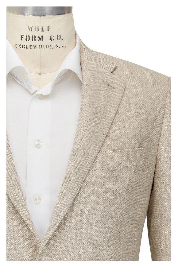 Atelier Munro Beige & Cream Herringbone Wool Blend Sportcoat