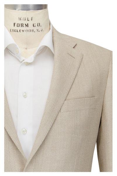 Atelier Munro - Beige & Cream Herringbone Wool Blend Sportcoat