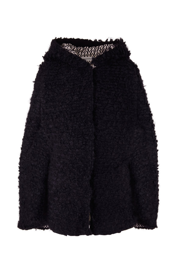 Valentino Black Wool & Mohair Hooded Cape