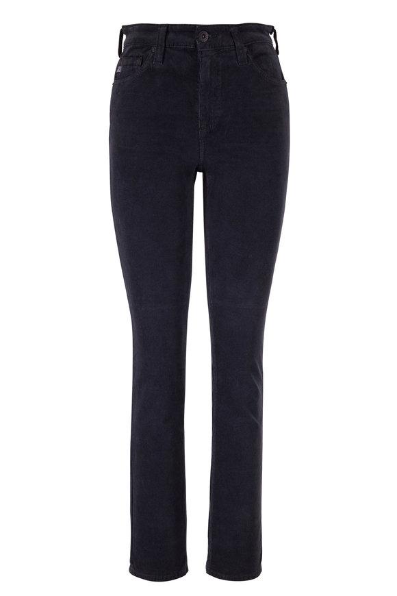 AG Mari Black Corduroy High-Rise Straight Jean
