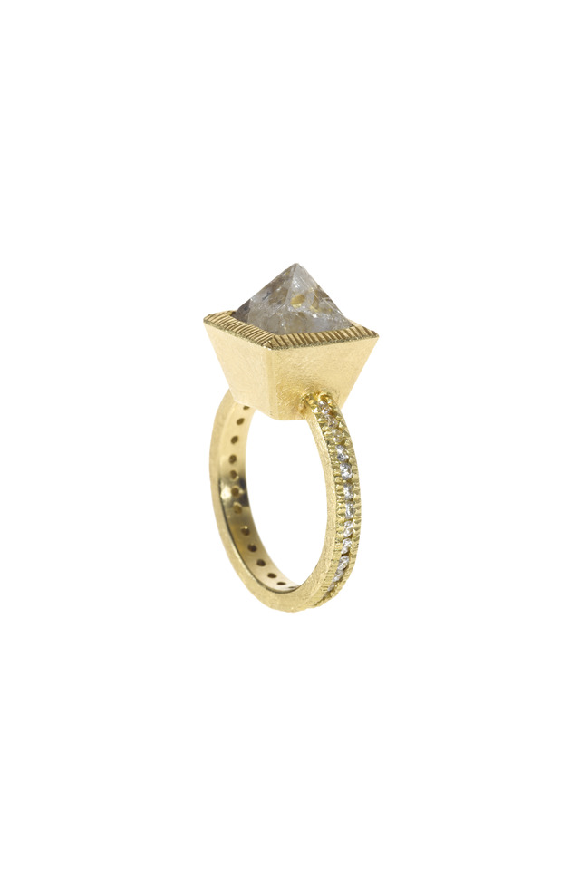Diamond Octahedron Gold Ring