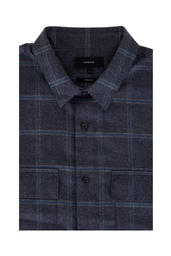 Vince Gray & Blue Houndstooth Windowpane Sport Shirt
