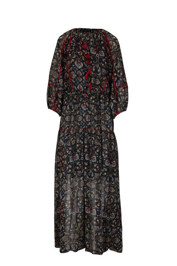 Sachin + Babi Dalton Black Swirl Printed Long Dress