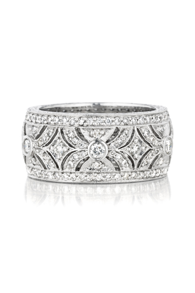 White Gold Pave Diamond Ring