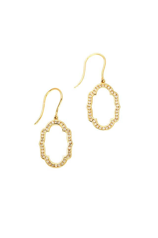 Mogul Yellow Gold Diamond Oval Earrings